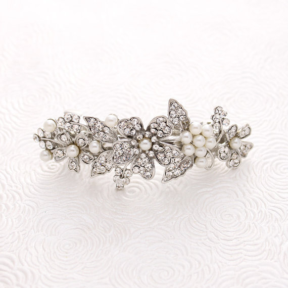 Bridal Hair Barrette Crystal Pearl Wedding Gatsby Old Hollywood Accessory Rhinestone Barrettes