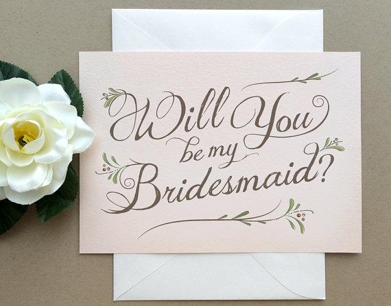زفاف - Blush Will You Be My Bridesmaid Card -  Will You Be My Bridesmaid? Card -  Bohemian Chic Blush Pink -