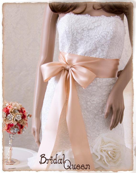 Hochzeit - Bridal Sash, BLUSH Wedding Sash, Satin Ribbon Bridal Belt, Rose Gold Bridal Sash, Satin Bridal Sash