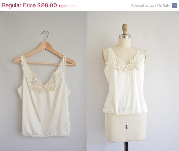 Hochzeit - 50% OFF SALE... white lace tank top -1980s lingerie top - 1980s 80s blouse