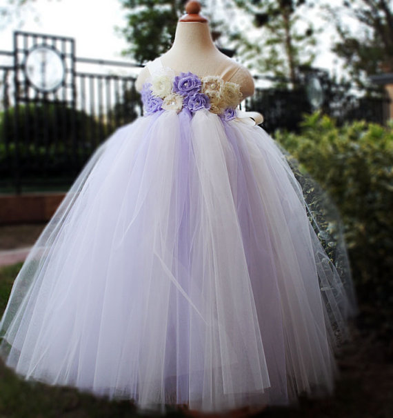 Mariage - Lilac Flower Girl Dress Party dresses tutu dress baby dress toddler birthday dress wedding dress 1T 2T 3T 4T 5T 6T