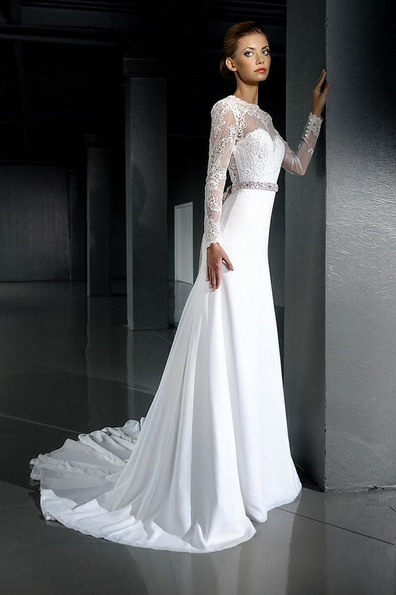 Open Back Wedding Dress Lace Long Sleeve Slimming Y Mermaid