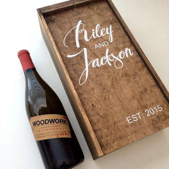 Wedding wine box first fight box wedding wine ceremony for Timber wine box
