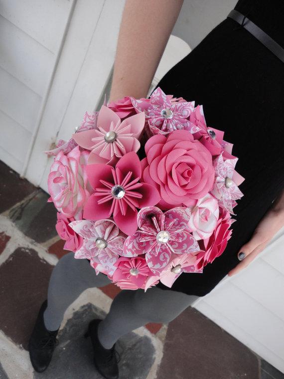 Large rose paper flower bridal bouquet wedding kusudama origami large rose paper flower bridal bouquet wedding kusudama origami paper rose pink mightylinksfo
