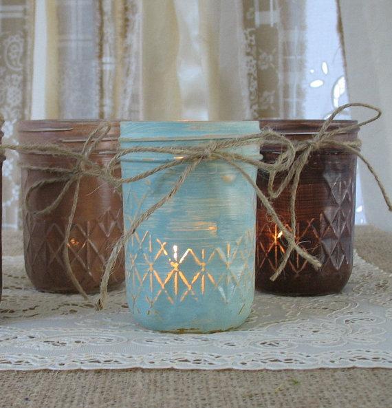 زفاف - Mason Jars, Votive Candle Holders, Mason Jar Candles, Painted Mason Jars, Rustic Wedding Centerpieces, Mint & Brown Mason Jars