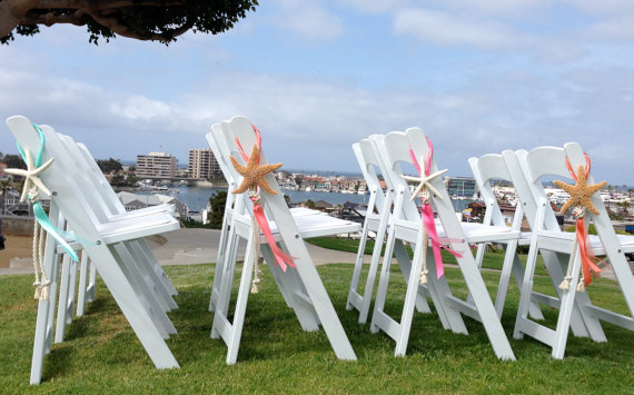 4 Beach Wedding Decor Starfish Chair Decorations With
