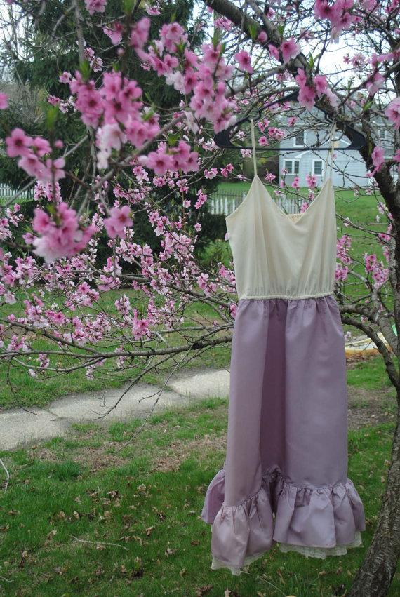 Mariage - 1970s Lilac & Ivory Cream Lovely Retro Strappy Evening Dress Mauve Dusty Rose Shabby Chic Victorian Wedding Mothers Day Garden Party Couture