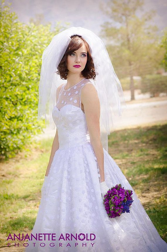 be4fe179d6f High Neck White Polka Dot Wedding Dress - Couture Wedding Gown - Colored Wedding  Dress Pink