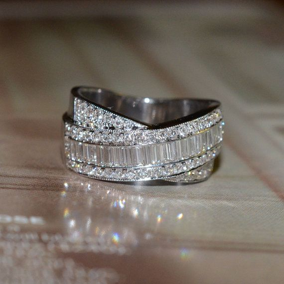 Wedding - RESERVED: Round And Baguette Cut Diamond Wedding Band (18k White Gold)
