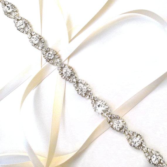 Mariage - Lush Rhinestone Ribbon Bridal Headband in Silver - White or Ivory Satin - Silver and Crystal Wedding Headband or Thin Belt