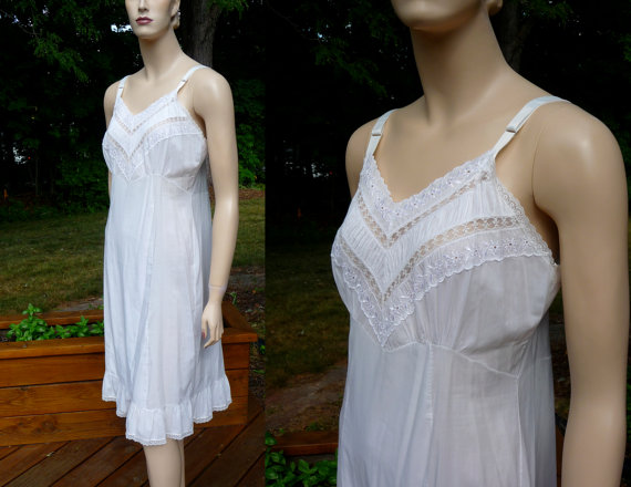 Wedding - Vintage white lawn Full Slip, Adonna from Penney's, size 36