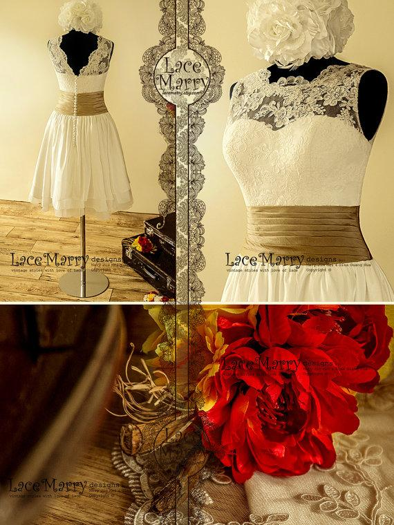 Mariage - Charming Short Vintage Style Lace Overlay Top Wedding Dress with Layered Taffeta Skirt Featuring Folded Belt and Modest V-Cut Back