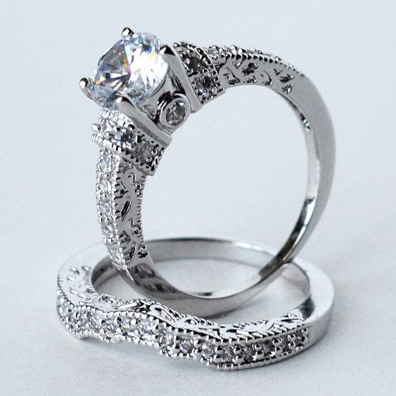 زفاف - cz ring, cz wedding ring, cz engagement ring, wedding ring set, ring set, cz wedding set cubic zirconia size 5 6 8 9 - MC1082971AZ