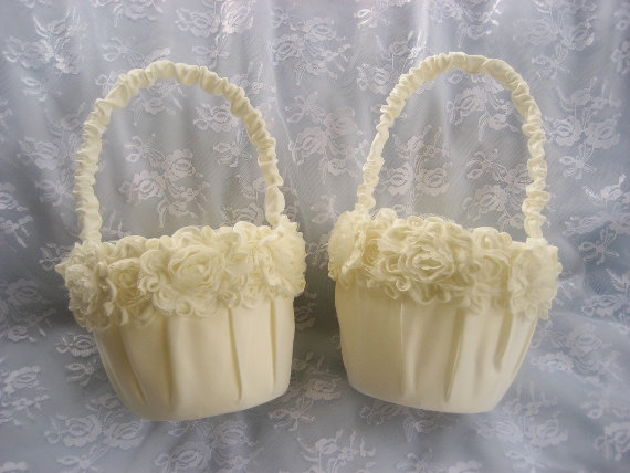 Mariage - Two Ivory Flower Girl Baskets Shabby Chic Vintage Custom Colors Wedding Basket