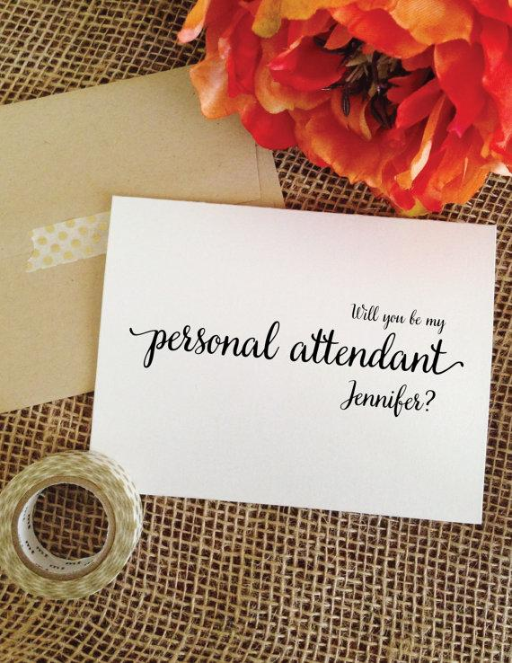 Wedding - Personalized Will you be my personal attendant wedding invitation card (Lovely)