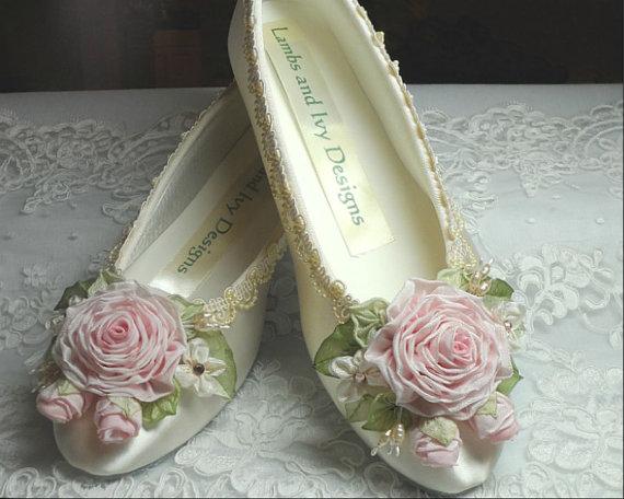 Wedding - Sabra's Ballerina Shoes Roses Ribbon Work Flower Girl Wedding Bride's Shoes