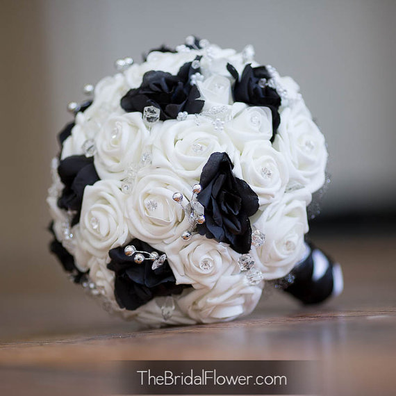 Black And White Wedding Bouquet With Crystals Bridal Bouquet Great
