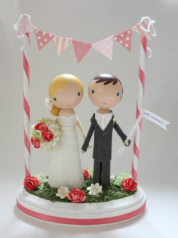 Nozze - custom wedding cake topper - with bunting