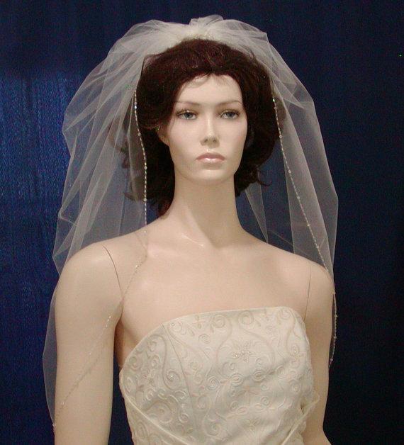 Hochzeit - wedding veils Ivory Trumpet Bridal Veil  featuring a sparkling beaded edge of Swarovski Crystals and sparkling Bugle Beads