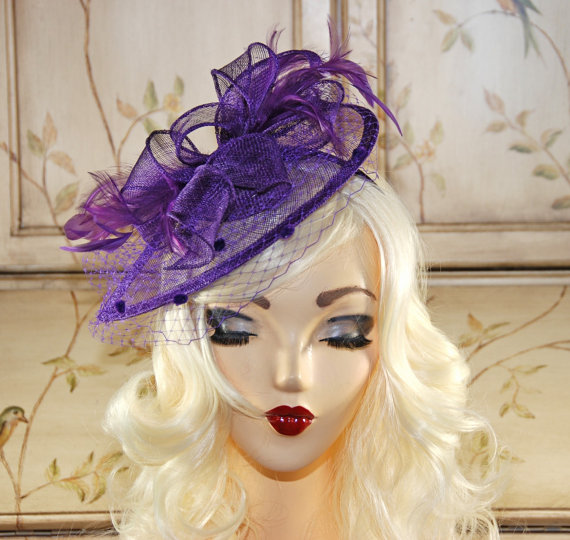 b443095872c81 Purple Fascinator - Purple Kentucky Derby Hat - British Tea Party Fascinator  Hat - Wedding Fascinator - Sinamay Fascinator