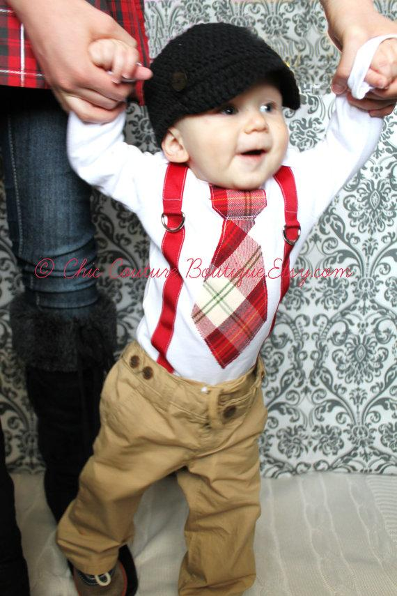 Mariage - Baby Boy 1st Valentine's Day Outfit Tie and Suspenders Bodysuit Cranberry Red  Green Tan 1st Birthday Outfit Cake Smash Wedding Ring Bearer