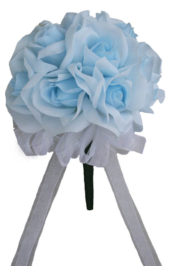 Mariage - Light Blue Silk Rose Toss Bouquet 1 Dozen Silk Roses - Bridal Wedding Bouquet