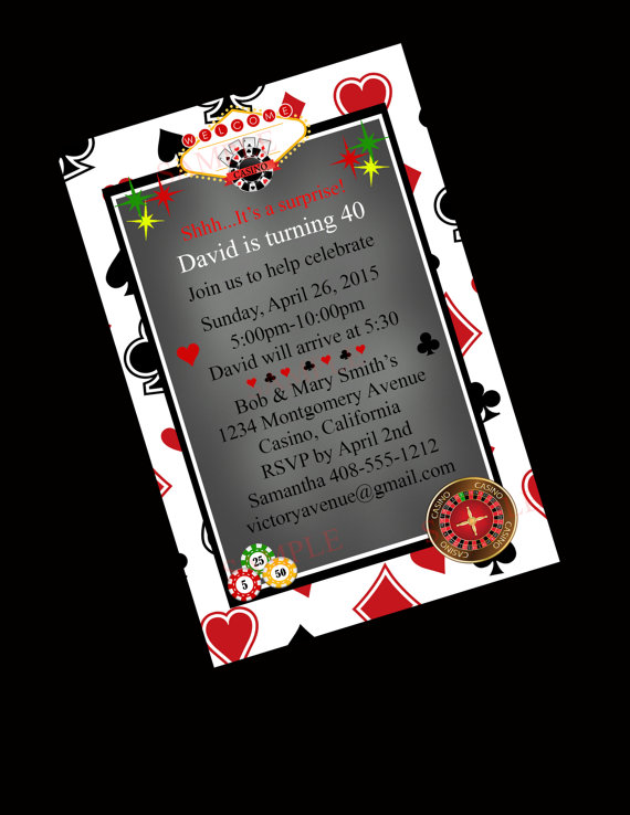 Casino Party Invitation40th Birthday Invitation BlackjackBachelor