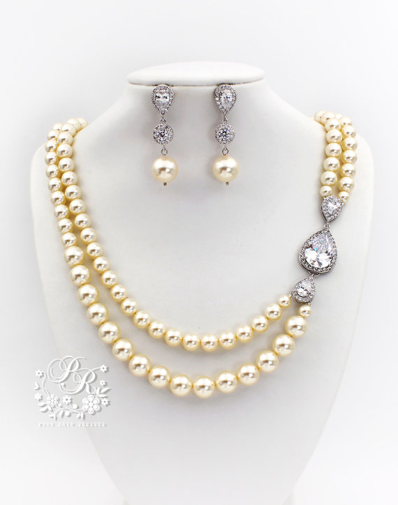 Mariage - Wedding Necklace Earrings set Swarovski Pearl Zirconia Rhinestone Necklace Earrings Wedding Jewelry Bridal Jewelry Wedding Accessory Zuma