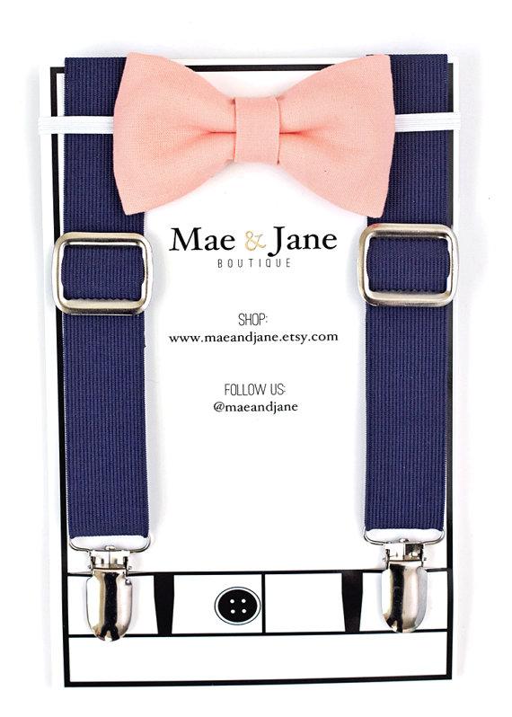 Свадьба - Boys Bow Tie and Suspenders SET! Peach boys bow tie and Navy Blue suspender, baby boy suspenders, wedding bow tie suspenders set