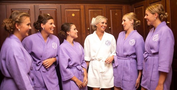 Bridesmaid Robes set of 7 - Vintage Cotton floral - personalozed bridesmaid  robes - monogrammed, embroidered robes - Bridesmaid Gift Set - 7