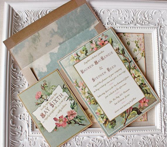 Vintage Floral Frame Wedding Invitation Blush Pink Antique Gold