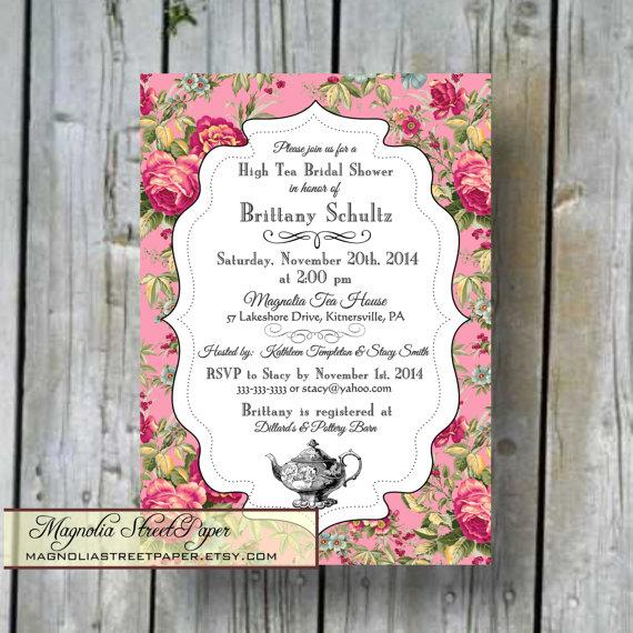 high tea bridal shower invitation custom printable high tea bridal diy bridal invitation shabby chic bridal shower