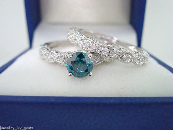 Mariage - Blue & White Diamond Engagement Ring Wedding Band Sets 14K White Gold Antique Style Engraved 0.67 Carat Handmade
