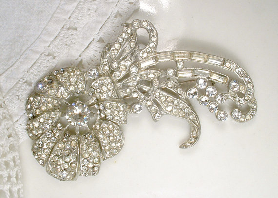 Mariage - Antique HAIR COMB or Sash Brooch, 1920s Art Nouveau Deco Pave Rhinestone Floral Spray Large Accessory, Vintage Wedding Bridal Hairpiece