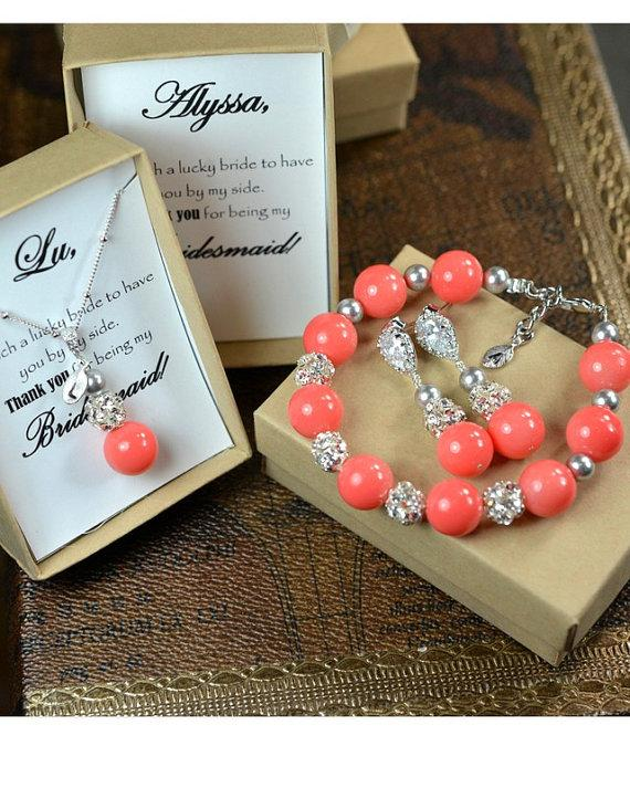 Hochzeit - Pink coral Wedding Jewelry Bridesmaid Gift Bridesmaid Jewelry Bridal Jewelry coral pink Pearl Drop Earrings necklace ,pink coral gray silver