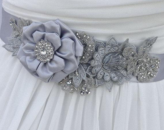 Свадьба - Bridal Sash, Wedding Sash in Platinum, Silver And Blue Grey With Crystals, Bridal Belt, Flower Sash, Wedding Dress Sash