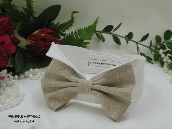 زفاف - Tan Linen Oversized Bow Wingtip Tuxedo Dog Collar~ Custom Made~Wedding Dog Collar~Dog Wedding Attire~Dog Tuxedo~Free Shipping Within USA~