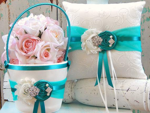 زفاف - TEAL Ring bearer pillow / TEAL Flower girl Basket  Set / Flower girl basket and Ring bearer pillow set / Wedding Basket and Pillow Set