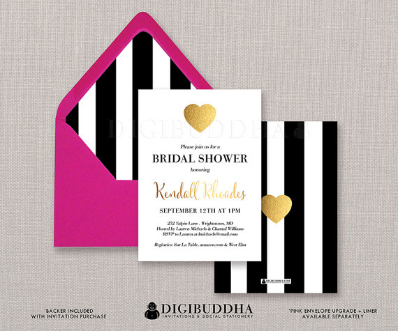Black U0026 White Stripe Bridal Shower Invitation Gold Heart Modern Faux Foil  Wedding Invite FREE PRIORITY SHIPPING Or DiY Printable  Kendall