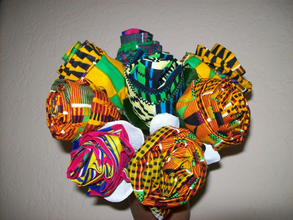 Wedding - 8 African fabric Roses, kente fabric flowers, African American Wedding bouquets / African decor / Craft Supplies/ Mother's day/ Valentines