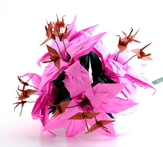 Mariage - Bridal Bouquet, Pink Origami Crane Lily Bouquet, Alternative Wedding Paper Flowers