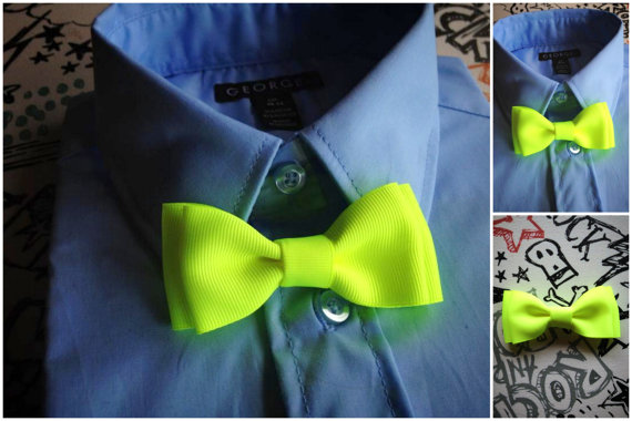 زفاف - Neon Yellow bowtie for boys, infant bowties, toddler bowtie, Birthday Photo Prop or Photography Session, family photos Christmas Shower Gift