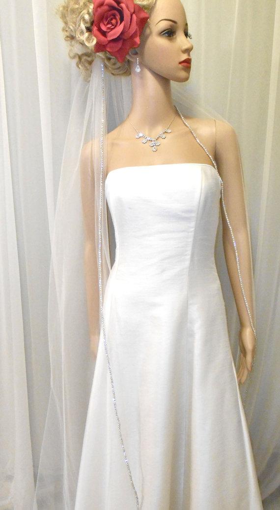 زفاف - Rhinestone Edge Cathedral Wedding Veil, 1 Tier, 108 Width, 130 Length