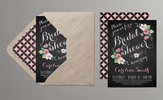 Mariage - Printable Bridal Shower Invitation (chalkboard) - Chalkboard Invitation with flowers