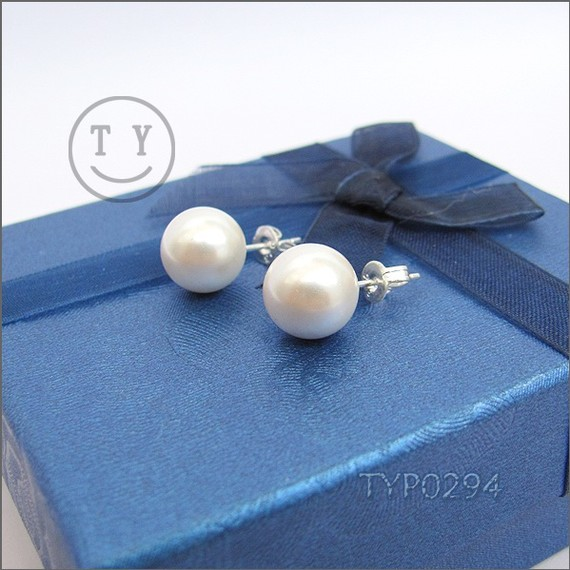 Mariage - Swarovski Pearl Earrings 10mm White South Sea Shell Pearl Ear Studs With Sterling Silver Studs