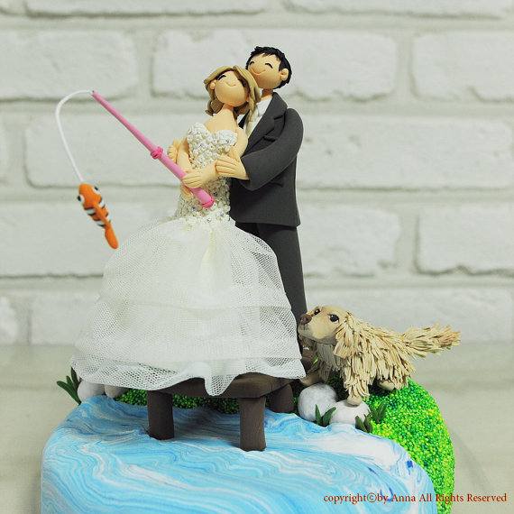 Wedding Cakes Lake Fishing Theme Wedding Cake Topper 2282481