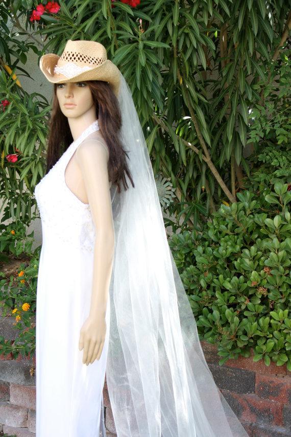western cowboy hat country bridal hat western style cowgirl bride western bridal veils by lasvegasveils - Western Wedding Veils