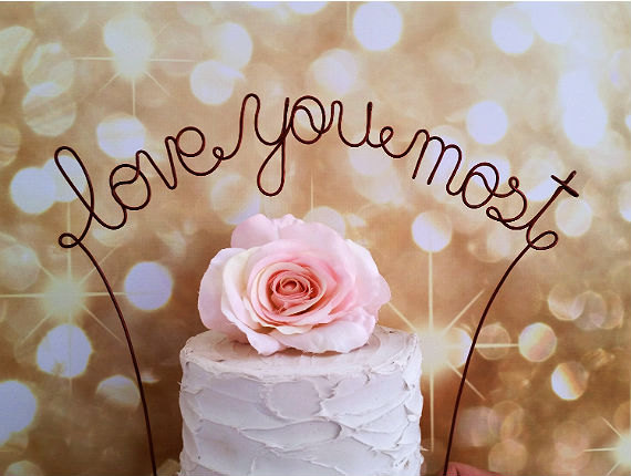 Свадьба - LOVE YOU MOST Wedding Cake Topper - Rustic Wedding Cake Topper Banner, Shabby Chic Wedding Cake Topper, Wedding Cake Decoration