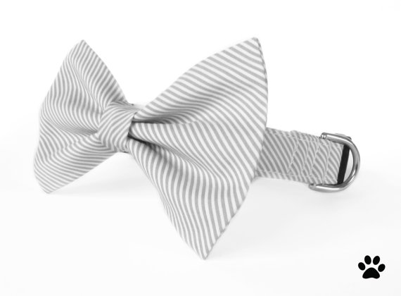 Свадьба - Grey and white striped - cat and dog bow tie collar set, striped dog collar bow tie, grey dog collar, wedding dog collar, grey cat collar