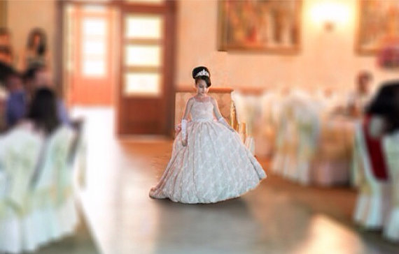 Wedding - Flower Girl Dress - Rosette Dress - Girls Lace Dress - Big Bow Dress -  Wedding Dress by Isabella Couture